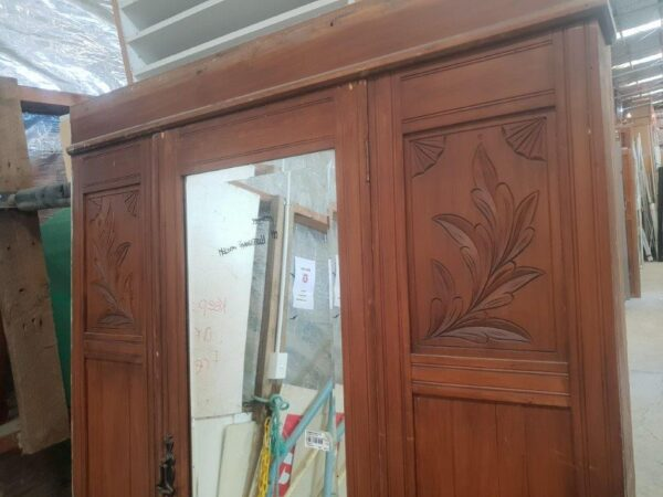 74606 Rimu Carved Mirror Wardrobe front close up carving