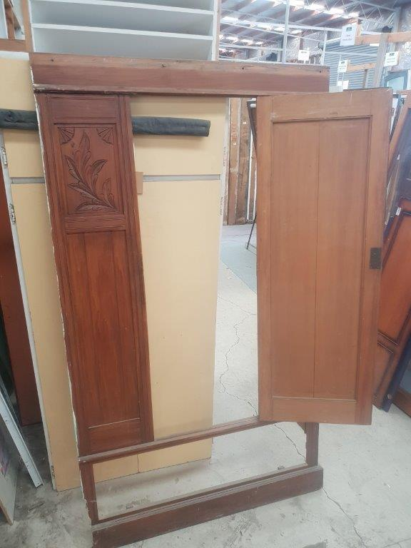 74606 Rimu Carved Mirror Wardrobe front door opened