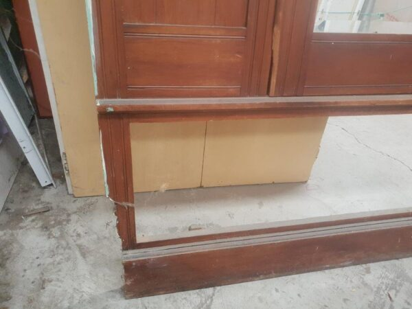 74606 Rimu Carved Mirror Wardrobe front left side bottom damage and cut area