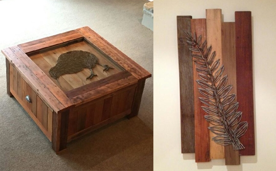 Recycled Rimu Coffee Table & Wall Art