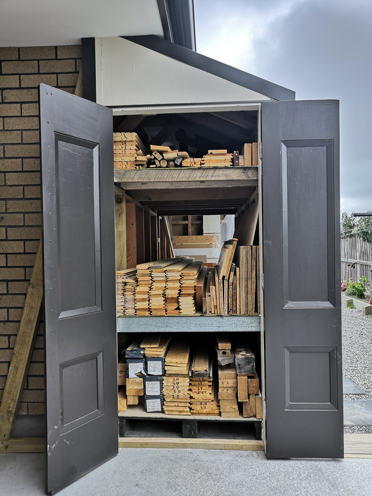 Woodshed made from recycled materials