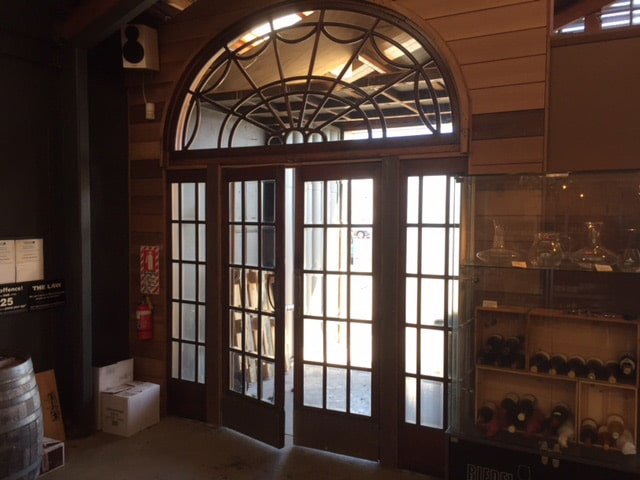 Recycled French doors after installation