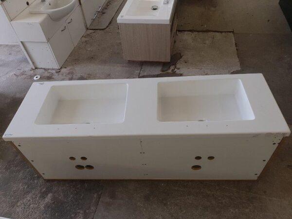 90829 Woodgrain Dual Sink Vanity back side