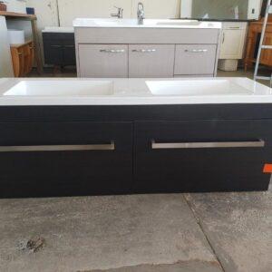 90829 Woodgrain Dual Sink Vanity front