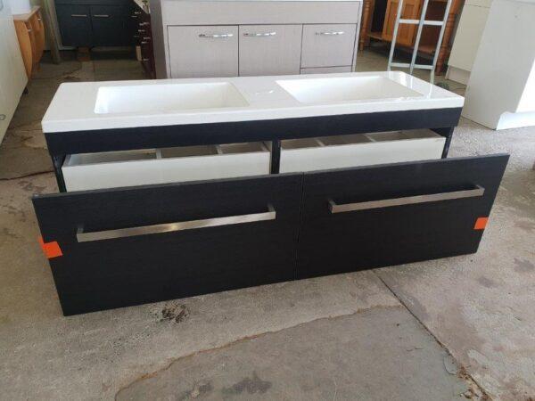 90829 Woodgrain Dual Sink Vanity front opened