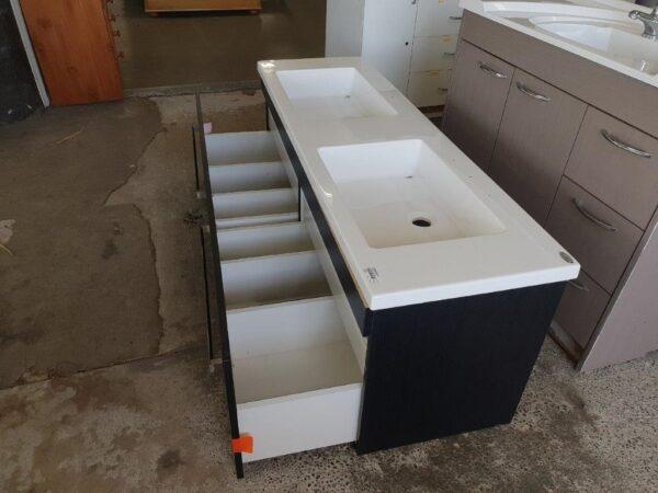 90829 Woodgrain Dual Sink Vanity opened drawers