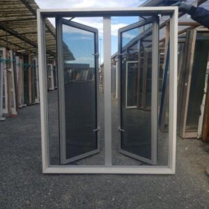 Double Glazed 1135w x 1380h Silver Pearl Aluminium Window 2 Casement Openings Recycled