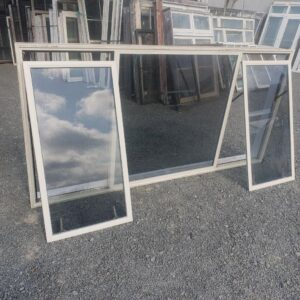 Double Glazed 2560w x 1260h Cream Aluminium Window 2 Fan Opening