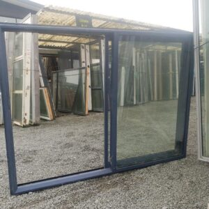 91194 Blue Aluminium Double Glazed Sliding window ext opened