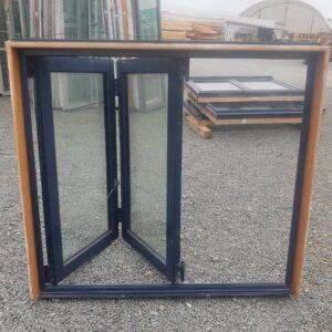 91196 Blue Aluminium Double Glazed Bifold Window int opened