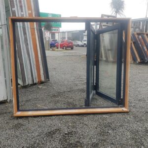 91197 Blue Aluminium Double Glazed Bifold Window int opened