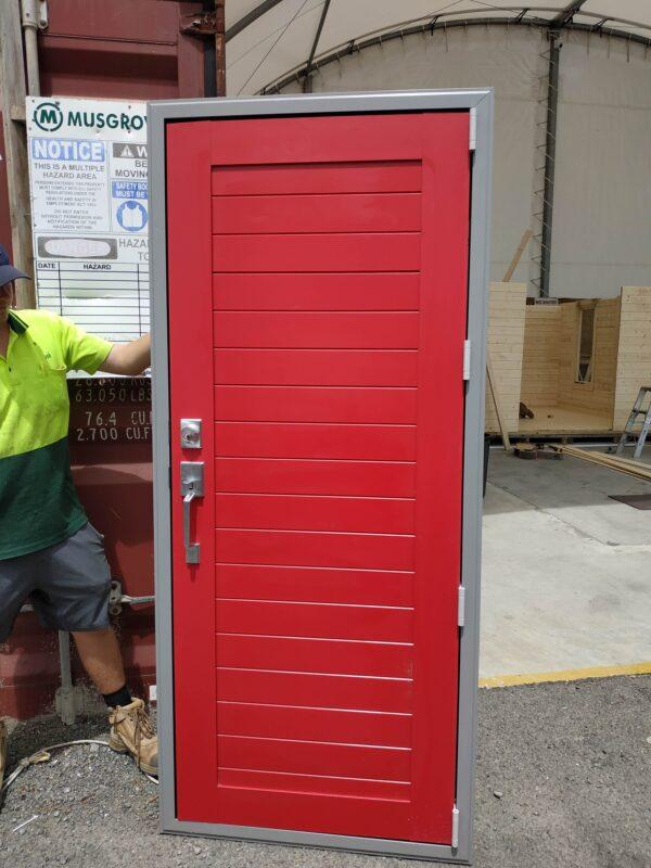 92137 Red Aluminium Door in Frame