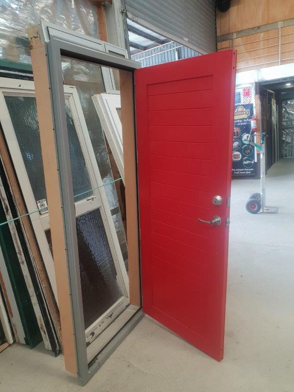 92137 Red T & G Alloy Door in Frame ext opened B