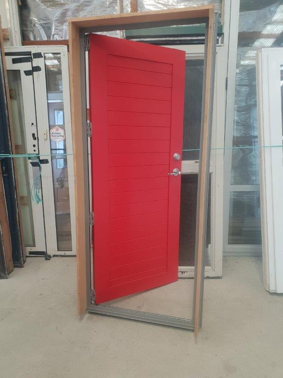 92137 Red T & G Alloy Door in Frame int opened