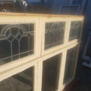 94154 Wooden Leadlight Window ext leadlight close up