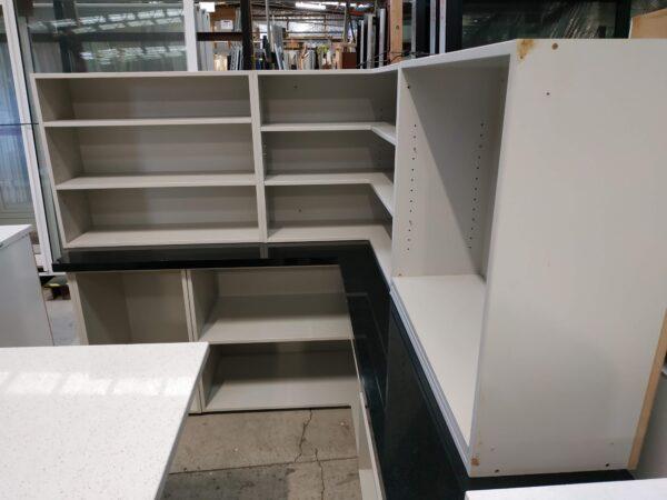 94374 Kitchen Open Cupboard & Black Bench