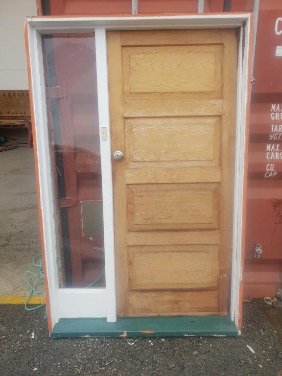 96279 Cedar 4 Panel Door with Sidelight ext front view
